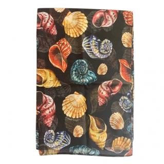 Dolce & Gabbana Sea Shell Print Black Wrap Scarf
