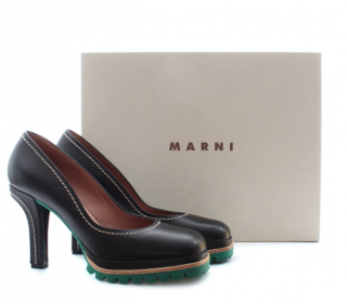 Marni Leather Square Toe Pumps