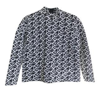 Ralph Lauren Black & White Geometric Knit Top