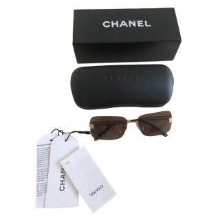 Chanel Vintage Brown Square Sunglasses