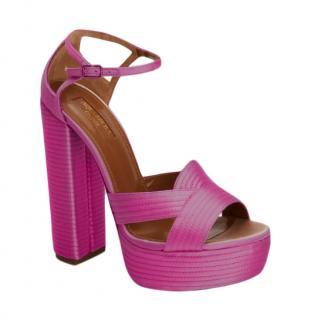 Aquazurra Pink Satin Sandals