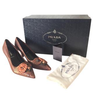 Dolce & Gabbana Brown Floral Applique Pumps