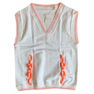 Dior White & Orange Ribbon Detail Knit Vest