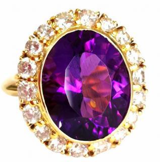 Bespoke natural very large Siberian Amethyst and 2.3 ct diamond ring