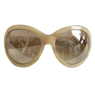 Tom Ford Beige Oversize Sunglasses