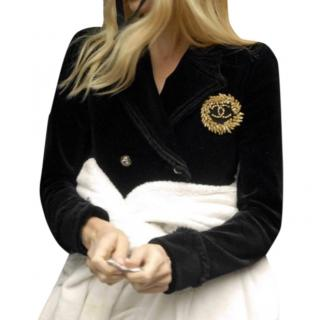 Chanel Black velvet CC jacket as seen on Claudia Schiffer  FR38