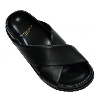 Saint Laurent Jimmy black  leather cross sandals