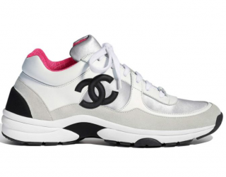 Chanel Pink & White CC Sneakers