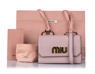 Miu Miu Pink logo Leather Crossbody Bag
