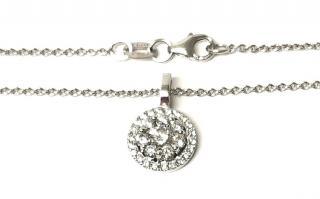 Cred diamond and white gold halo pendant