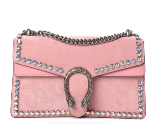 GUCCI Suede Crystal Small Dionysus Shoulder Bag in Peonia