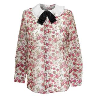 Saint Laurent floral print wool mix blouse