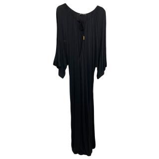 DSquared black silk blend full length dress