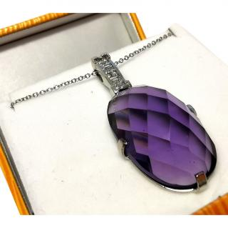 Bespoke large facet cut amethyst and diamond pendant