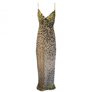 Yigal Azrouel multi coloured heavy stretch silk maxi dress/gown