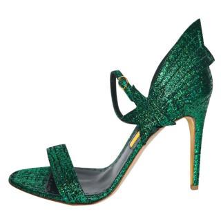 Rupert Sanderson Evergreen Tweed Starfire Sandals