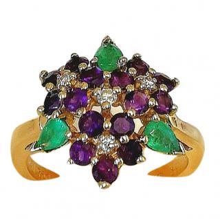 Faberge Amethyst, Diamond & Emerald Cluster Ring