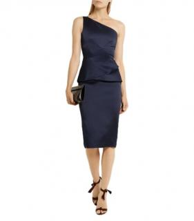Roland Mouret navy blue Anerely one shoulder satin dress