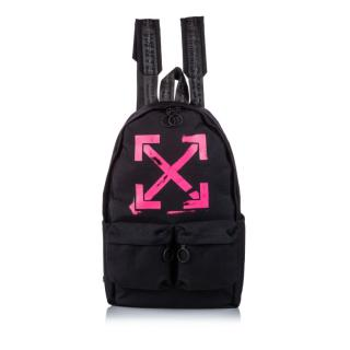 Off White Arrow Print Brushed Canvas Backpack