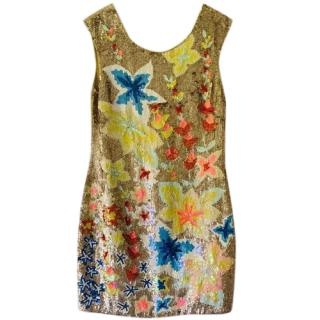 Needle & Thread floral gold sequin dress