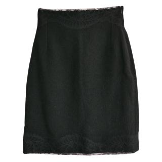Roaches black wool blend lace skirt