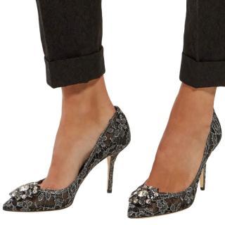 Dolce & Gabbana embellished grey lace Bellucci pumps