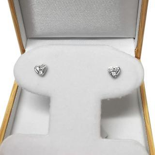 Bespoke White Gold Diamond Heart Stud Earrings