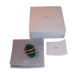Dior Crystal & Faux Emerald Ring