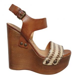 Lanvin Watersnake Wooden Wedge Sandals