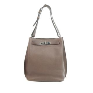 Hermes Taupe Clemence Leather So Kelly 22