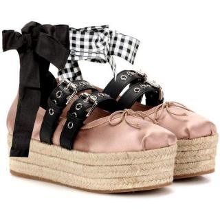 Miu Miu Leather Trimmed Satin Platform Espadrilles