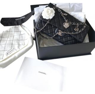 Chanel Black Quilted Valentines Charm Single Flap Bag