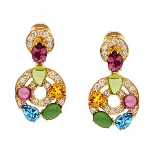 Bvlgari Multi Gemstone Yellow Gold Astrale Earrings