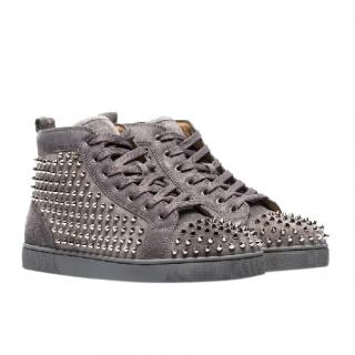 Christian Louboutin Shadow Grey Louis Studded Suede Hi Top Sneakers