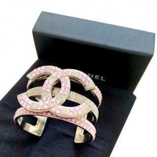 Chanel Pink & White Crystal CC Cuff
