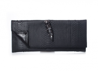 Maison Du Posh Rubber Python Knuckle Clutch