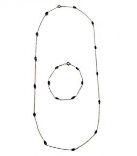 Bespoke marquis natural sapphire necklace and bracelet