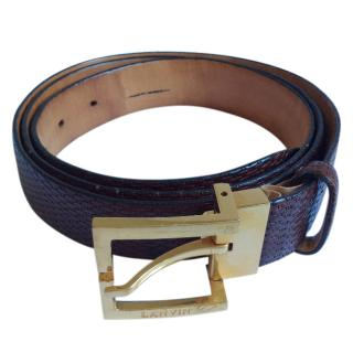 Lanvin dark brown leather belt.
