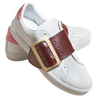 Burberry Buckle Detail Leather Trainers Optic White/cerise