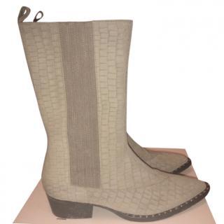 Gestuz Mock Croc Western Ankle Boots