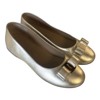 Ferragamo Kid's Gold Bow Detail Ballerina Flats