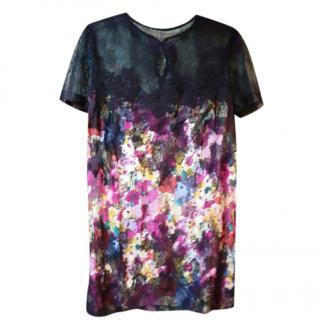 Provonias Watercolour Floral Print Silk Lace Trim Dress