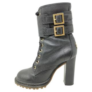 Tory Burch Black Leather Buckle Detail Biker Heeled Boots