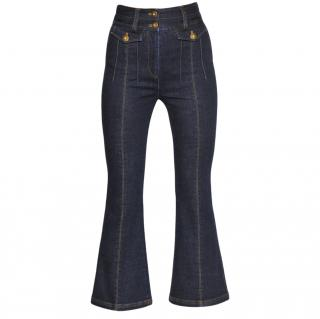 Self Portrait High Waist Flared Stretch Cotton Jeans