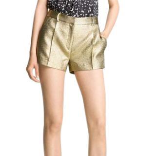 Diane von Furstenberg Naples metallic twill shorts