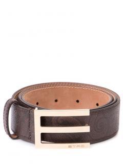 Etro Brown calf leather logo plaque belt