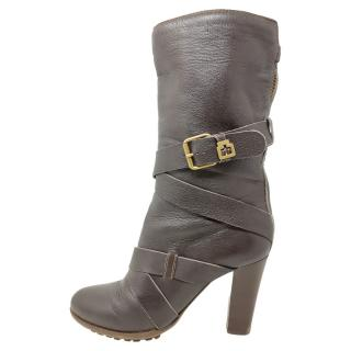 Chloe Leather Wrap Buckle Boots