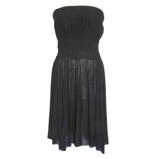Givenchy pleated black strapless dress