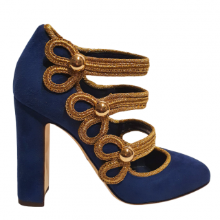 Dolce & Gabbana Gold Braided Blue Sergeant Pepper Pumps