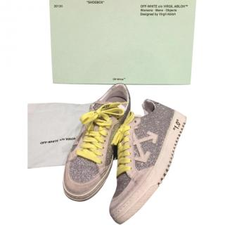 Off White yellow laces glitter trainers